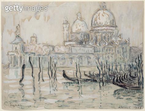 <b>Title</b> : Venice or, The Gondolas, 1908 (black chalk and w/c on paper)<br><b>Medium</b> : black chalk and watercolour on paper<br><b>Location</b> : Musee Marmottan, Paris, France<br> - gettyimageskorea