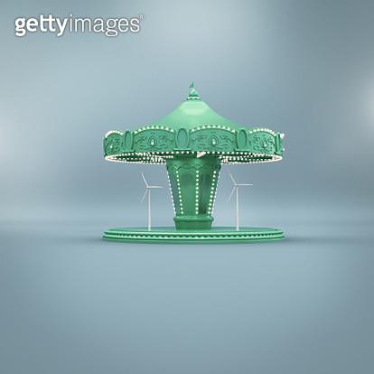 Carousel with wind turbines - gettyimageskorea