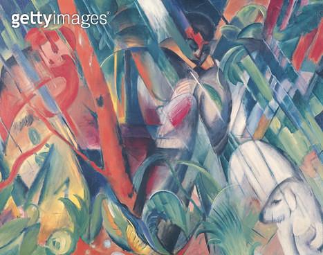<b>Title</b> : In the Rain, 1912 (oil on canvas)<br><b>Medium</b> : oil on canvas<br><b>Location</b> : Stadtische Galerie im Lenbachhaus, Munich, Germany<br> - gettyimageskorea