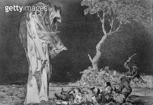 <b>Title</b> : Riddle of fear, plate 2 of 'Proverbs', 1819-23, pub. 1864 (etching)<br><b>Medium</b> : etching, burnished aquatint and drypoint<br><b>Location</b> : Private Collection<br> - gettyimageskorea