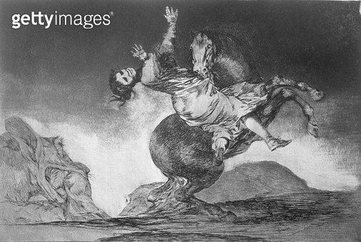 <b>Title</b> : Abducting horse, plate 10 of 'Proverbs', 1819-23, pub. 1864 (etching)Additional Infoillustrating the tale of a man, turned into<br><b>Medium</b> : etching, burnished aquatint and drypoint<br><b>Location</b> : Private Collection<br> - gettyimageskorea