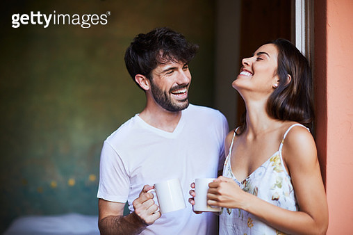 Couple sharing morning coffee - gettyimageskorea
