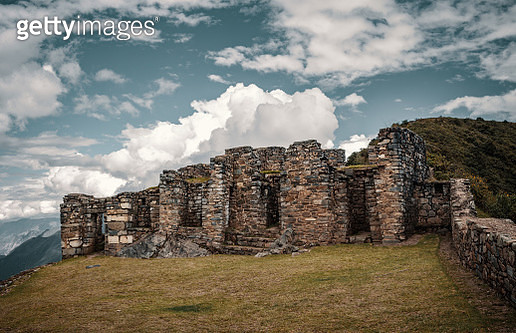 View Of Old Ruins Against Cloudy Sky - gettyimageskorea