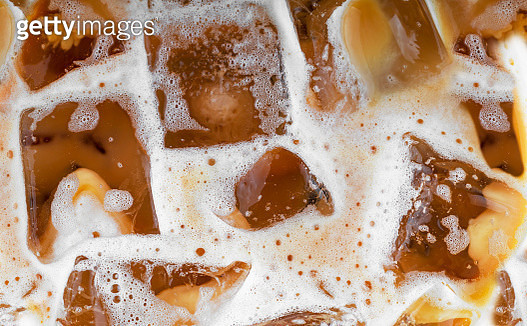 Close Up of Coffee Pour Over Ice Cubes.  Photo Taken In Shanghai, China - May 22, 2019 - gettyimageskorea
