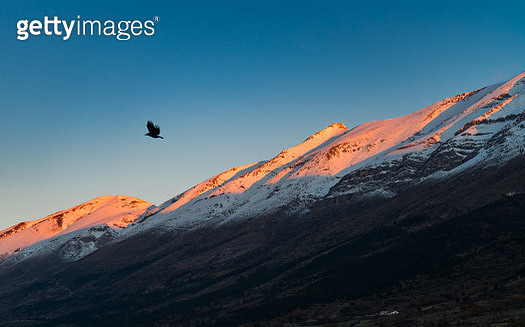 First sunlight of the morning illuminated the mountain peak with red color. - gettyimageskorea