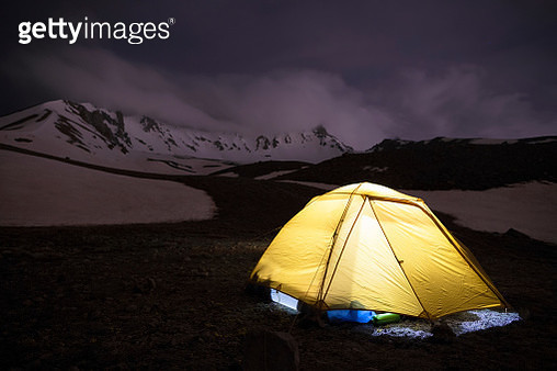Tent On Field Against Sky During Winter At Night - gettyimageskorea