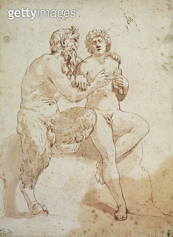 <b>Title</b> : A satyr teaching a youth to play the pipes (brown ink & wash on paper)Additional Infosatyre enseignant a joueur la flute;<br><b>Medium</b> : brown ink and wash on paper<br><b>Location</b> : Musee Conde, Chantilly, France<br> - gettyimageskorea