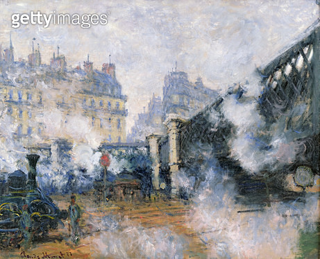 <b>Title</b> : The Pont de l'Europe, Gare Saint-Lazare, 1877 (oil on canvas)<br><b>Medium</b> : oil on canvas<br><b>Location</b> : Musee Marmottan, Paris, France<br> - gettyimageskorea