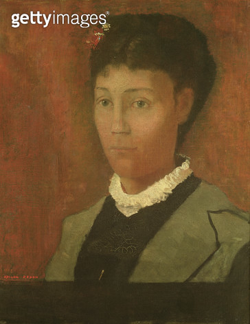 <b>Title</b> : Portrait of the artist's wife, Madame Odilon Redon (nee Camille Falte) (1853-1923), 1882<br><b>Medium</b> : oil on canvas<br><b>Location</b> : Musee d'Orsay, Paris, France<br> - gettyimageskorea