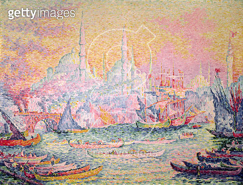 <b>Title</b> : Istanbul, 1907 (oil on canvas)Additional Infoview of shipping and the Haghia Sophia mosque;<br><b>Medium</b> : <br><b>Location</b> : Private Collection<br> - gettyimageskorea