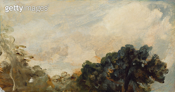 <b>Title</b> : Cloud Study with Trees, 1821 (oil on paper laid down on board)<br><b>Medium</b> : oil on paper laid down on board<br><b>Location</b> : Yale Center for British Art, Paul Mellon Collection, USA<br> - gettyimageskorea