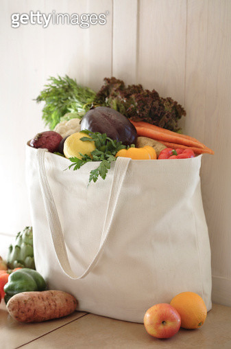 Variety of vegetables in reusable bag - gettyimageskorea