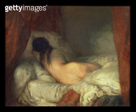 <b>Title</b> : Reclining Female Nude, c.1844-45 (oil on canvas)<br><b>Medium</b> : oil on canvas<br><b>Location</b> : Musee d'Orsay, Paris, France<br> - gettyimageskorea
