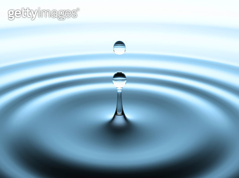Droplet of water breaking free from a water spout, close-up, still life - gettyimageskorea