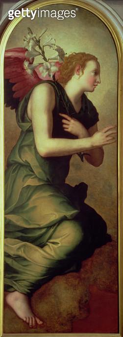<b>Title</b> : The Archangel Gabriel, left hand panel of an Annunciation, 1555 (fresco) (see also 82441)<br><b>Medium</b> : <br><b>Location</b> : Palazzo Vecchio (Palazzo della Signoria) Florence, Italy<br> - gettyimageskorea