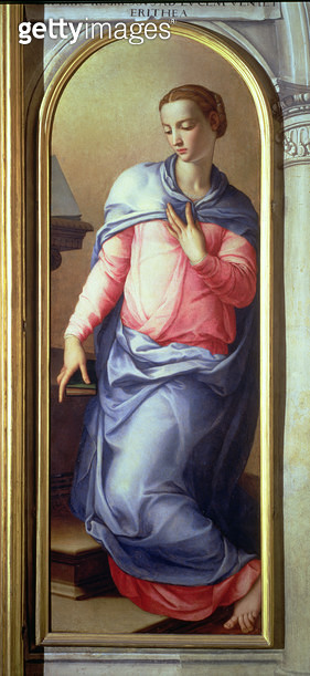 <b>Title</b> : The Virgin, right hand panel of an Annunciation, 1555 (fresco) (see also 82440)<br><b>Medium</b> : <br><b>Location</b> : Palazzo Vecchio (Palazzo della Signoria) Florence, Italy<br> - gettyimageskorea