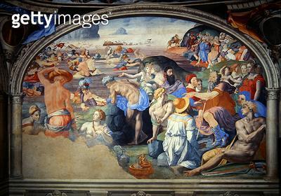<b>Title</b> : The Crossing of the Red Sea, 1555 (fresco)<br><b>Medium</b> : fresco<br><b>Location</b> : Palazzo Vecchio (Palazzo della Signoria) Florence, Italy<br> - gettyimageskorea