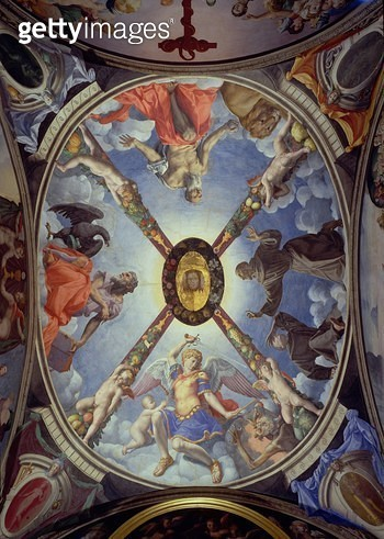 <b>Title</b> : The ceiling of the Chapel of Eleonora of Toledo depicting St. Michael Archangel conquering Satan; St. John the Evangelist; St. J<br><b>Medium</b> : <br><b>Location</b> : Palazzo Vecchio (Palazzo della Signoria) Florence, Italy<br> - gettyimageskorea