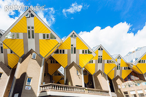 Yellow cubic houses in Rotterdam, Netherlands - gettyimageskorea