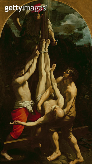 <b>Title</b> : Crucifixion of St. Peter (oil on canvas)<br><b>Medium</b> : oil on canvas<br><b>Location</b> : Vatican Museums and Galleries, Vatican City, Italy<br> - gettyimageskorea