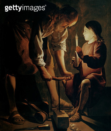 <b>Title</b> : St. Joseph, the Carpenter (oil on canvas)<br><b>Medium</b> : oil on canvas<br><b>Location</b> : Musee des Beaux-Arts et d'Archeologie, Besancon, France<br> - gettyimageskorea