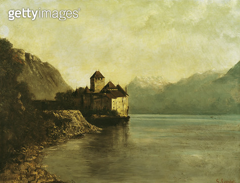 <b>Title</b> : Chateau de Chillon, 1874 (oil on canvas)<br><b>Medium</b> : oil on canvas<br><b>Location</b> : Musee-Maison Natale Gustave Courbet, Ornans, France<br> - gettyimageskorea
