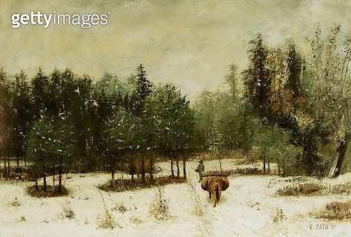 <b>Title</b> : Entrance to the Forest in Winter. Snow Effect, 1873 (oil on canvas)<br><b>Medium</b> : oil on canvas<br><b>Location</b> : Musee-Maison Natale Gustave Courbet, Ornans, France<br> - gettyimageskorea