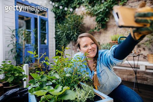 Smiling woman doing selfie in front of diy plant pot. - gettyimageskorea
