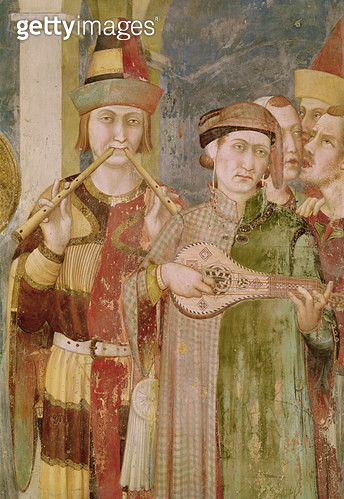 <b>Title</b> : Detail of musicians from the Life of St. Martin, c.1326 (fresco)<br><b>Medium</b> : fresco<br><b>Location</b> : San Francesco, Lower Church, Assisi, Italy<br> - gettyimageskorea