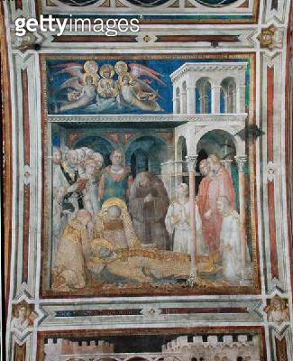 <b>Title</b> : The Death of St. Martin, from the Life of St. Martin, c.1322-26 (fresco)Additional Infoangels carrying his soul to heaven;<br><b>Medium</b> : fresco<br><b>Location</b> : San Francesco, Lower Church, Assisi, Italy<br> - gettyimageskorea
