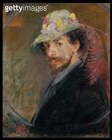 <b>Title</b> : Self Portrait in a Hat with Flowers, 1883 (oil on canvas)<br><b>Medium</b> : oil on canvas<br><b>Location</b> : Stedelijk Museum, Ostend, Belgium<br> - gettyimageskorea