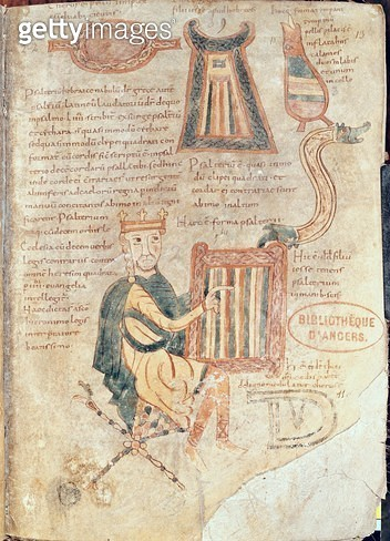 <b>Title</b> : Ms 18 fol.13 King David playing a psaltery, from a psalter (vellum)<br><b>Medium</b> : <br><b>Location</b> : Bibliotheque Municipale, Angers, France<br> - gettyimageskorea
