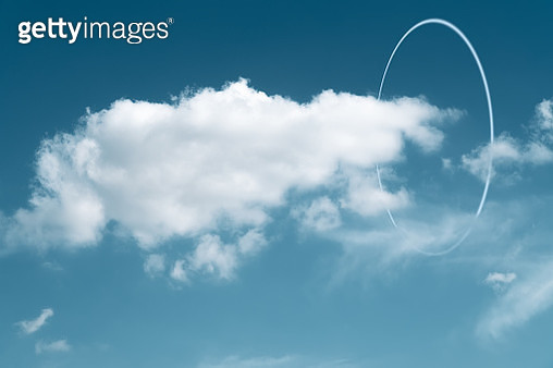 White circle glowing around the clouds - gettyimageskorea