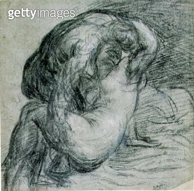 <b>Title</b> : No.2256 Couple in an embrace, or Jupiter and Io, c.1570 (charcoal and chalk)<br><b>Medium</b> : charcoal and black chalk on blue-grey paper<br><b>Location</b> : Fitzwilliam Museum, University of Cambridge, UK<br> - gettyimageskorea