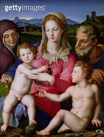 <b>Title</b> : Holy Family with St. Anne and the infant St. John the Baptist, c.1550 (oil on panel)<br><b>Medium</b> : oil on panel<br><b>Location</b> : Louvre, Paris, France<br> - gettyimageskorea