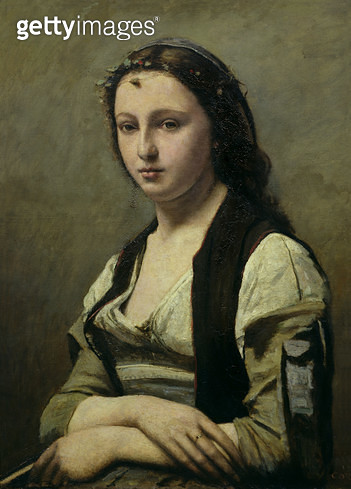 <b>Title</b> : The Woman with the Pearl, c.1842 (oil on canvas)<br><b>Medium</b> : oil on canvas<br><b>Location</b> : Louvre, Paris, France<br> - gettyimageskorea