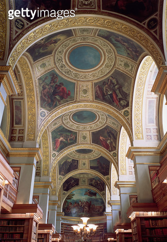 View of the coffered Library ceiling with gilded stucco framework surrounding spandrels illustrating biblical and classical scenes, 1844 (photo) - gettyimageskorea