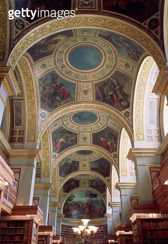 <b>Title</b> : View of the coffered Library ceiling with gilded stucco framework surrounding spandrels illustrating biblical and classical scen<br><b>Medium</b> : <br><b>Location</b> : Assemblee Nationale Palais-Bourbon, Paris, France<br> - gettyimageskorea