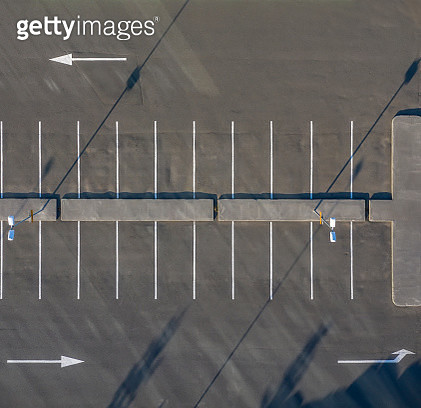 Aerial - Empty parking lot. - gettyimageskorea