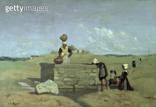 <b>Title</b> : Breton Women at the Well near Batz, c.1842 (oil on canvas)<br><b>Medium</b> : oil on canvas<br><b>Location</b> : Louvre, Paris, France<br> - gettyimageskorea