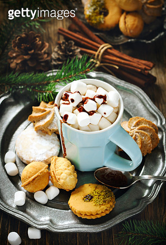 Hot chocolate with marshmallows and cookies - gettyimageskorea