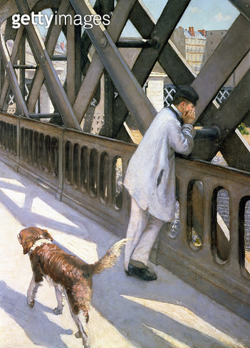 <b>Title</b> : Le Pont de L'Europe: detail of a resting man and a dog, 1876 (detail of 50110)<br><b>Medium</b> : oil on canvas<br><b>Location</b> : Petit Palais, Geneva, Switzerland<br> - gettyimageskorea