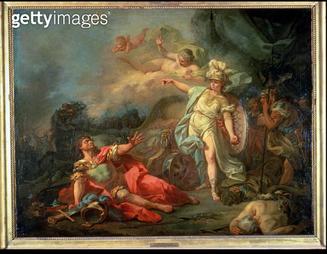 <b>Title</b> : The fight between Mars and Minerva, 1771 (oil on canvas)<br><b>Medium</b> : oil on canvas<br><b>Location</b> : Louvre, Paris, France<br> - gettyimageskorea