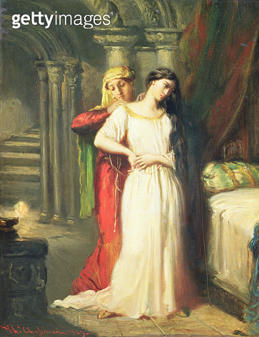 <b>Title</b> : Desdemona Retiring to her Bed, 1849 (oil on panel)<br><b>Medium</b> : oil on panel<br><b>Location</b> : Louvre, Paris, France<br> - gettyimageskorea