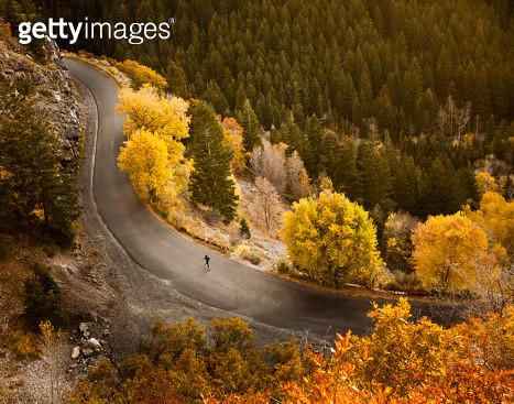 Caucasian woman running along autumn road - gettyimageskorea
