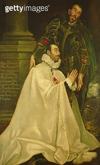 <b>Title</b> : Julian Romero de las Azanas with St. Julian, 1587-97 (oil on canvas)<br><b>Medium</b> : oil on canvas<br><b>Location</b> : Prado, Madrid, Spain<br> - gettyimageskorea