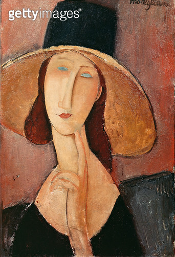 <b>Title</b> : Portrait of Jeanne Hebuterne in a large hat, c.1918-19 (oil on canvas)<br><b>Medium</b> : oil on canvas<br><b>Location</b> : Metropolitan Museum of Art, New York, USA<br> - gettyimageskorea
