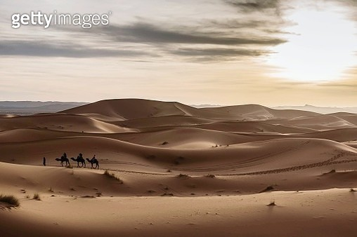 Scenic View Of Desert Against Sky During Sunset - gettyimageskorea