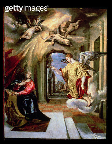 <b>Title</b> : The Annunciation, c.1570-73 (oil on panel)<br><b>Medium</b> : oil on panel<br><b>Location</b> : Prado, Madrid, Spain<br> - gettyimageskorea