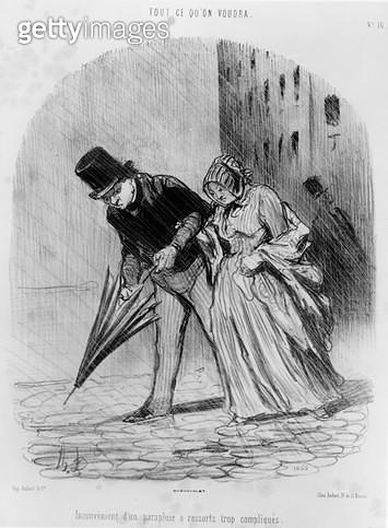 <b>Title</b> : The Inconvenience of an Umbrella with a Complicated Mechanism, c.1847 (litho) (b/w photo)Additional InfoInconvenient d'un Parapl<br><b>Medium</b> : lithograph<br><b>Location</b> : Musee de la Ville de Paris, Musee Carnavalet, Paris, France< - gettyimageskorea